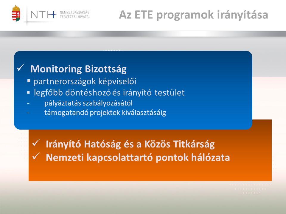 Az ETE programok irányítása Irányító Hatóság és a Közös Titkárság Nemzeti kapcsolattartó pontok hálózata Monitoring Bizottság  partnerországok képviselői  legfőbb döntéshozó és irányító testület -pályáztatás szabályozásától -támogatandó projektek kiválasztásáig