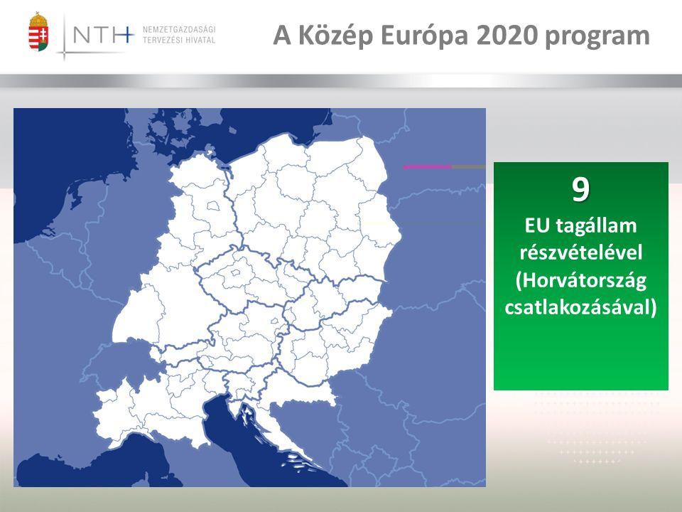 9 EU tagállam részvételével (Horvátország csatlakozásával) A Közép Európa 2020 program