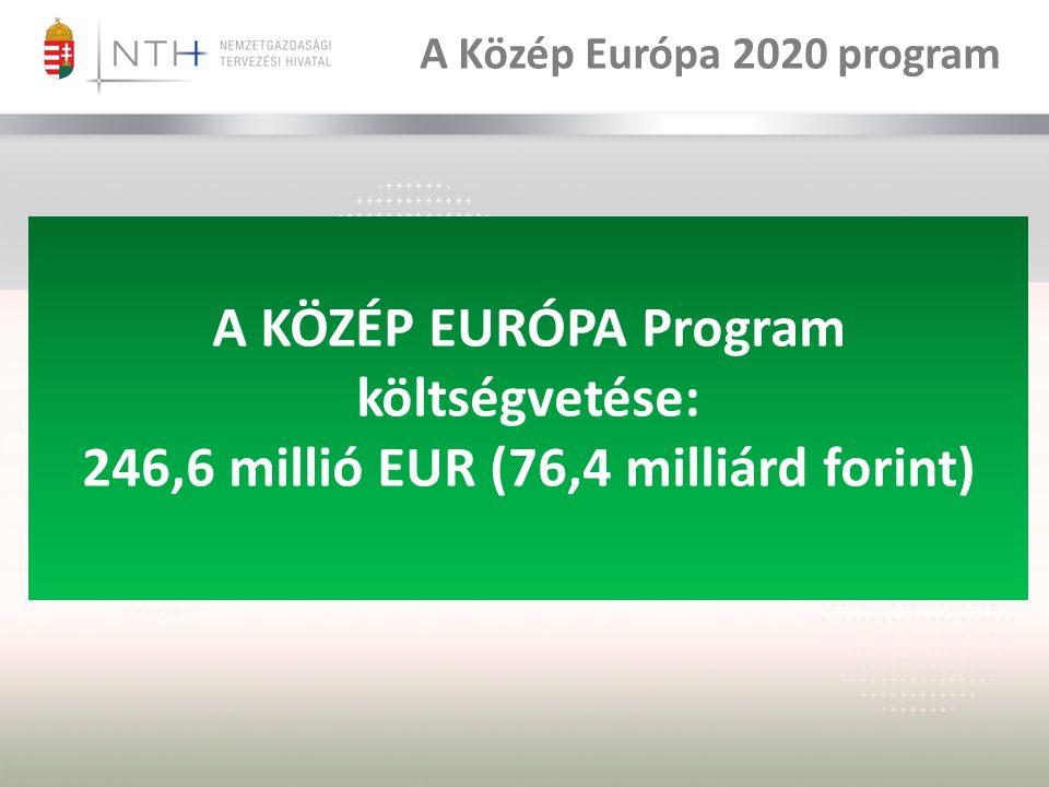 A KÖZÉP EURÓPA Program költségvetése: 246,6 millió EUR (76,4 milliárd forint) A Közép Európa 2020 program