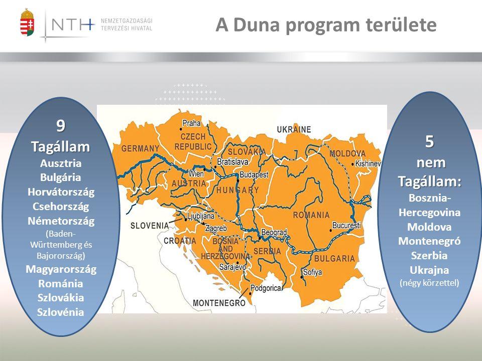 5 nem Tagállam: nem Tagállam: Bosznia- Hercegovina Moldova Montenegró Szerbia Ukrajna (négy körzettel) 9 Tagállam Tagállam Ausztria Bulgária Horvátország Csehország Németország (Baden- Württemberg és Bajorország) Magyarország Románia Szlovákia Szlovénia A Duna program területe