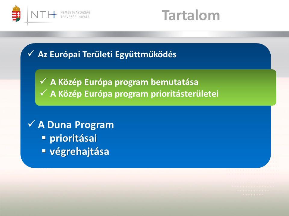 Tartalom A Közép Európa program bemutatása A Közép Európa program prioritásterületei Az Európai Területi Együttműködés A Duna Program  prioritásai  végrehajtása