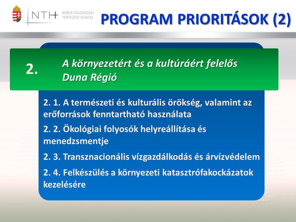 PROGRAM PRIORITÁSOK (2) A környezetért és a kultúráért felelős Duna Régió 2.