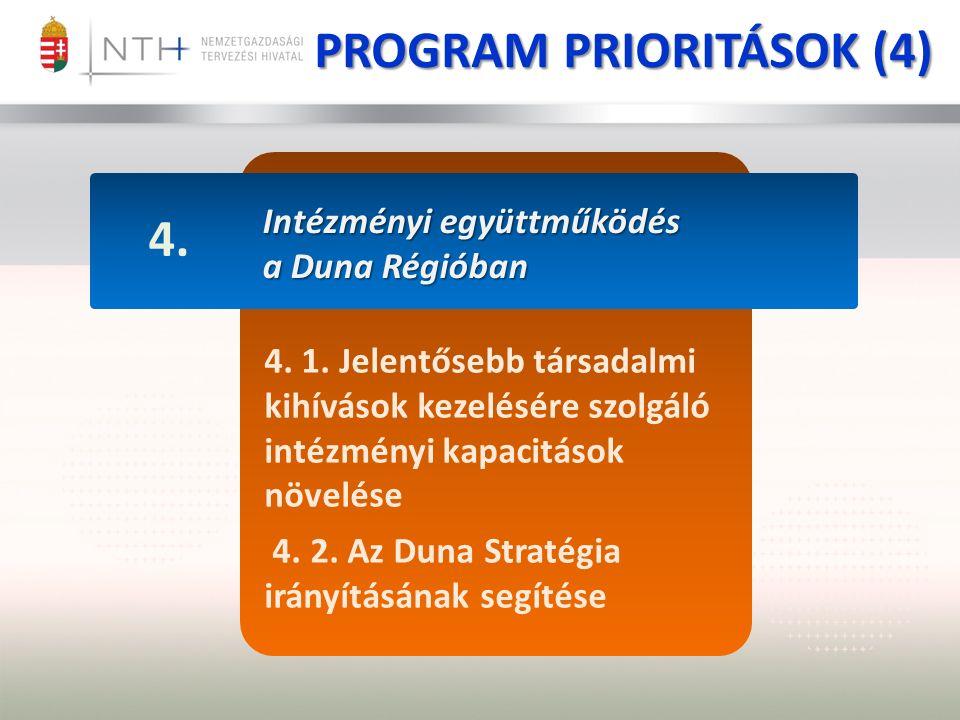 Intézményi együttműködés a Duna Régióban 4. 4. 1.