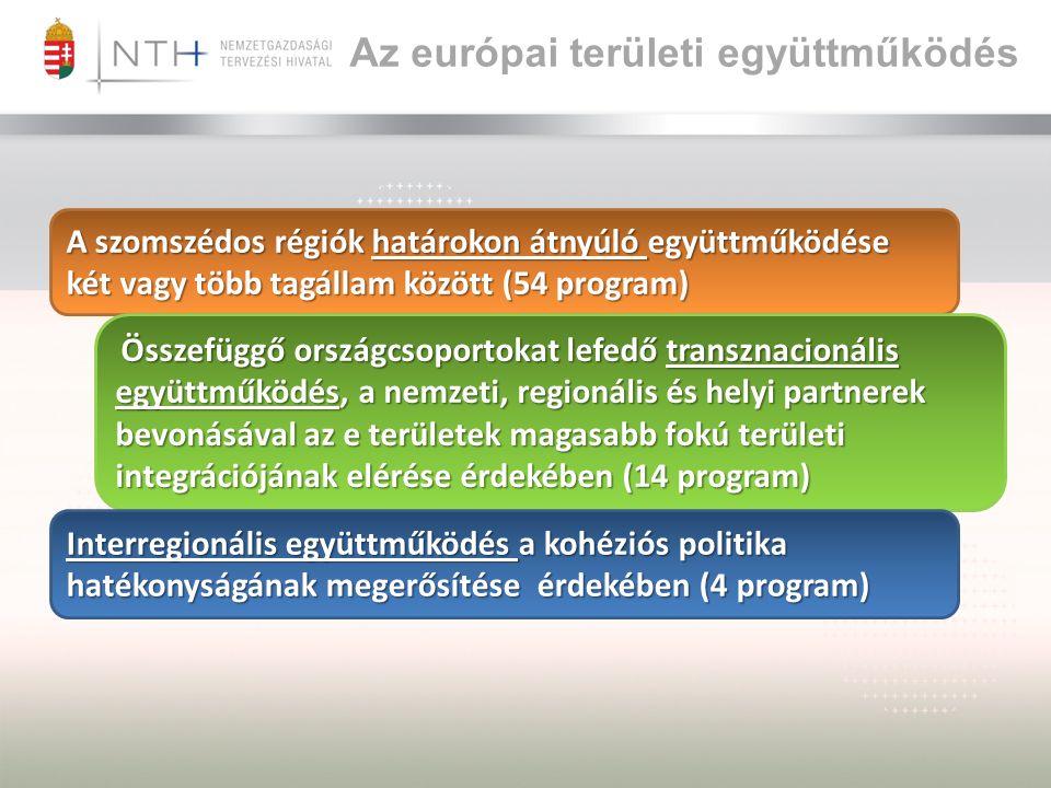 Az európai területi együttműködés A szomszédos régiók határokon átnyúló együttműködése két vagy több tagállam között (54 program) Összefüggő országcsoportokat lefedő transznacionális együttműködés, a nemzeti, regionális és helyi partnerek bevonásával az e területek magasabb fokú területi integrációjának elérése érdekében (14 program) Összefüggő országcsoportokat lefedő transznacionális együttműködés, a nemzeti, regionális és helyi partnerek bevonásával az e területek magasabb fokú területi integrációjának elérése érdekében (14 program) Interregionális együttműködés a kohéziós politika hatékonyságának megerősítése érdekében (4 program)