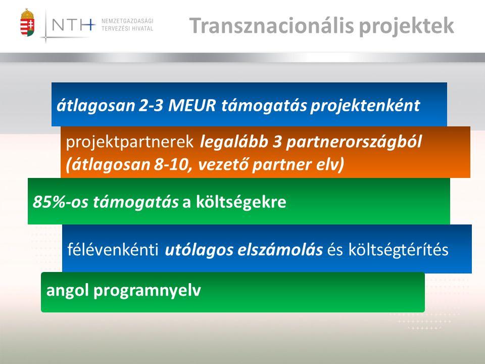 projektpartnerek legalább 3 partnerországból (átlagosan 8-10, vezető partner elv) átlagosan 2-3 MEUR támogatás projektenként félévenkénti utólagos elszámolás és költségtérítés 85%-os támogatás a költségekre angol programnyelv Transznacionális projektek