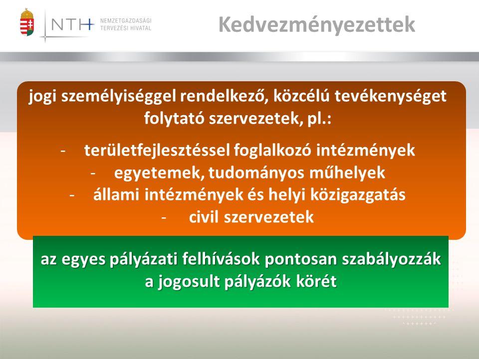 Kedvezményezettek jogi személyiséggel rendelkező, közcélú tevékenységet folytató szervezetek, pl.: -területfejlesztéssel foglalkozó intézmények -egyetemek, tudományos műhelyek -állami intézmények és helyi közigazgatás - civil szervezetek az egyes pályázati felhívások pontosan szabályozzák a jogosult pályázók körét