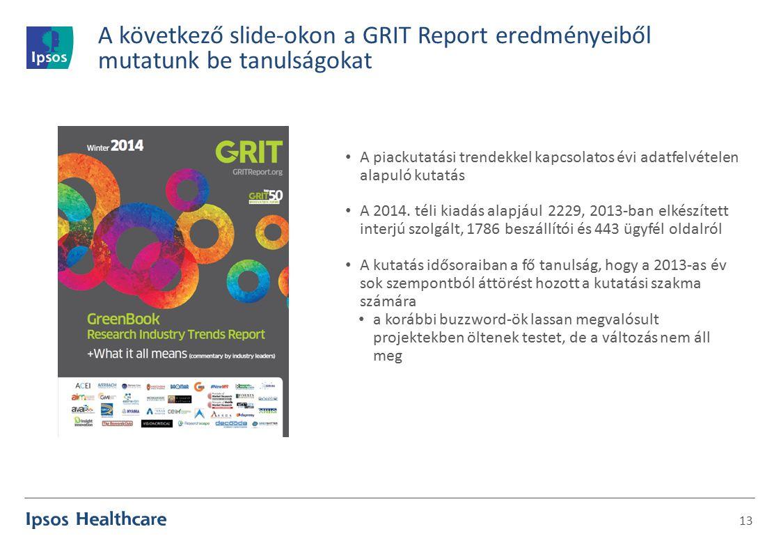 A következő slide-okon a GRIT Report eredményeiből mutatunk be tanulságokat 13 A piackutatási trendekkel kapcsolatos évi adatfelvételen alapuló kutatás A 2014.