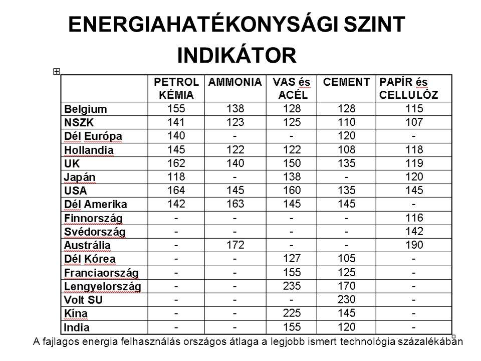 ENERGIAHATÉKONYSÁGI SZINT INDIKÁTOR A fajlagos energia felhasználás országos átlaga a legjobb ismert technológia százalékában
