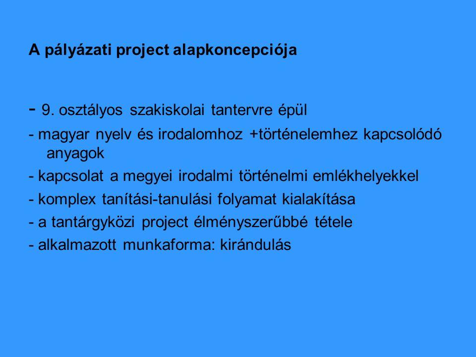 Az emlékhelyek és a tantervi anyag kapcsolódó területei: magyar 1.