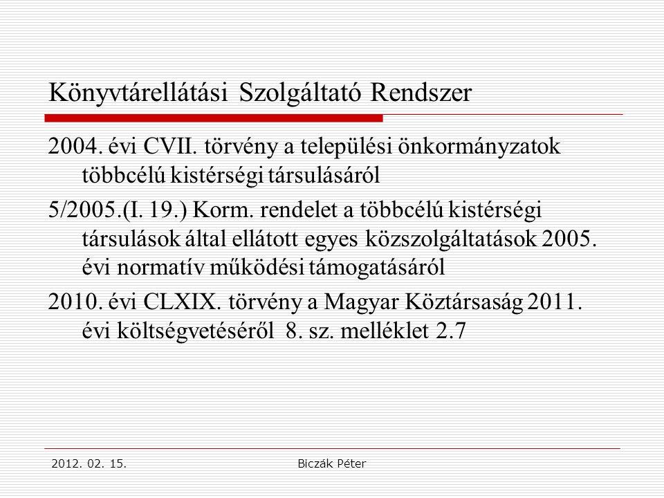 2012. 02. 15.Biczák Péter Könyvtárellátási Szolgáltató Rendszer 2004.