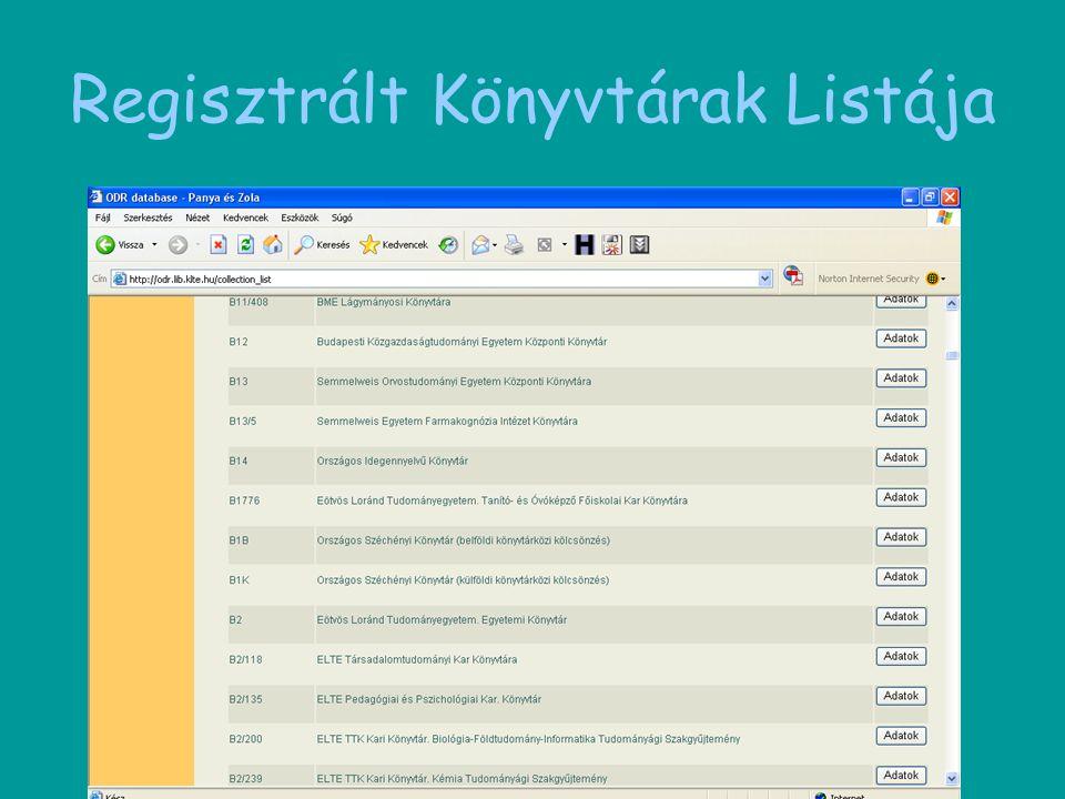 Regisztrált Könyvtárak Listája