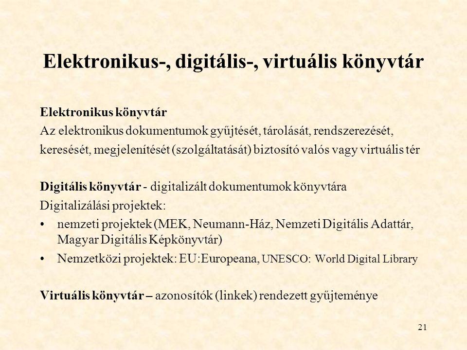 21 Elektronikus-, digitális-, virtuális könyvtár Elektronikus könyvtár Az elektronikus dokumentumok gyűjtését, tárolását, rendszerezését, keresését, megjelenítését (szolgáltatását) biztosító valós vagy virtuális tér Digitális könyvtár - digitalizált dokumentumok könyvtára Digitalizálási projektek: nemzeti projektek (MEK, Neumann-Ház, Nemzeti Digitális Adattár, Magyar Digitális Képkönyvtár) Nemzetközi projektek: EU:Europeana, UNESCO: World Digital Library Virtuális könyvtár – azonosítók (linkek) rendezett gyűjteménye