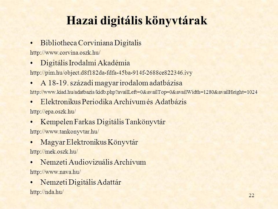 22 Hazai digitális könyvtárak Bibliotheca Corviniana Digitalis http://www.corvina.oszk.hu/ Digitális Irodalmi Akadémia http://pim.hu/object.d8f182da-fdfa-45ba-914f-2688ce822346.ivy A 18-19.