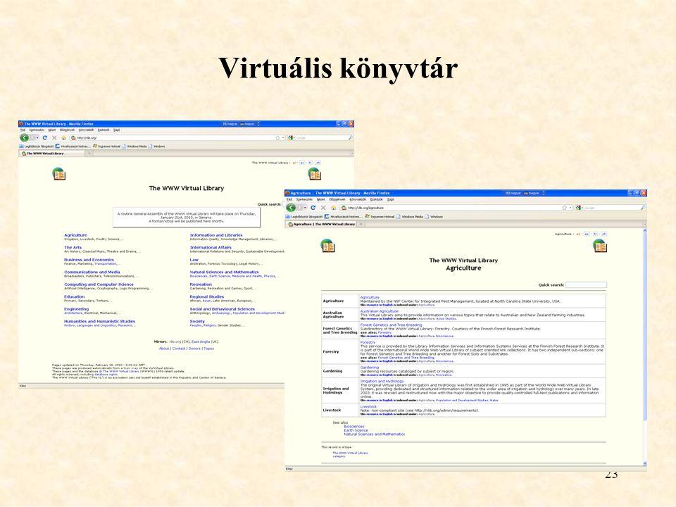 23 Virtuális könyvtár