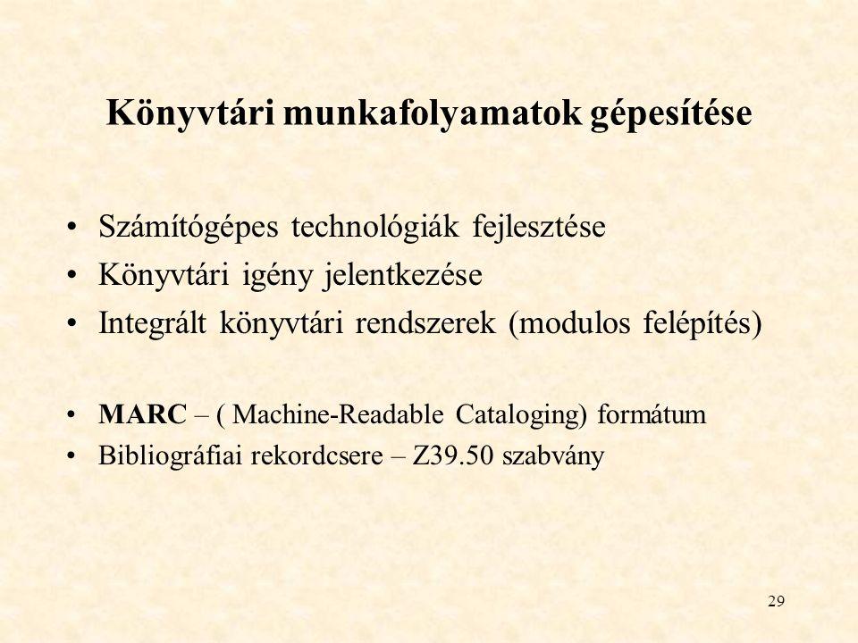 29 Könyvtári munkafolyamatok gépesítése Számítógépes technológiák fejlesztése Könyvtári igény jelentkezése Integrált könyvtári rendszerek (modulos felépítés) MARC – ( Machine-Readable Cataloging) formátum Bibliográfiai rekordcsere – Z39.50 szabvány