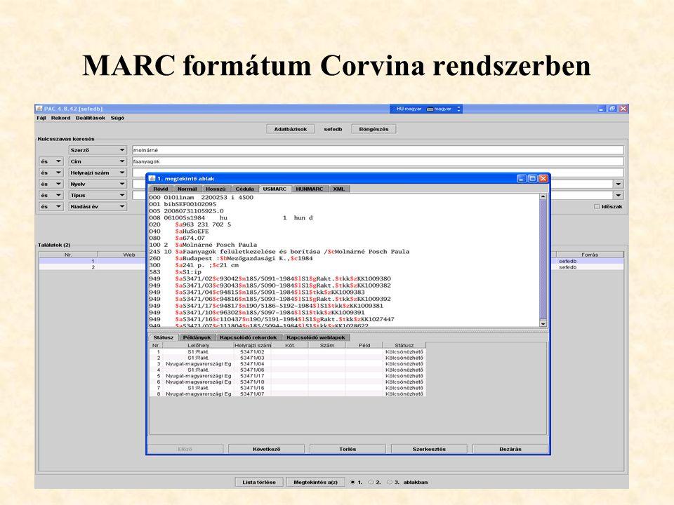 30 MARC formátum Corvina rendszerben