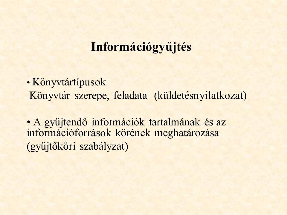 Információgyűjtés Könyvtártípusok Könyvtár szerepe, feladata (küldetésnyilatkozat) A gyűjtendő információk tartalmának és az információforrások körének meghatározása (gyűjtőköri szabályzat)