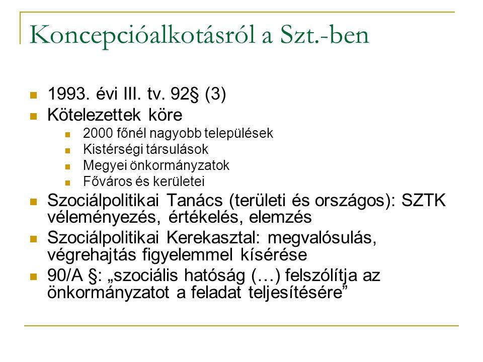 Koncepcióalkotásról a Szt.-ben 1993.évi III. tv.
