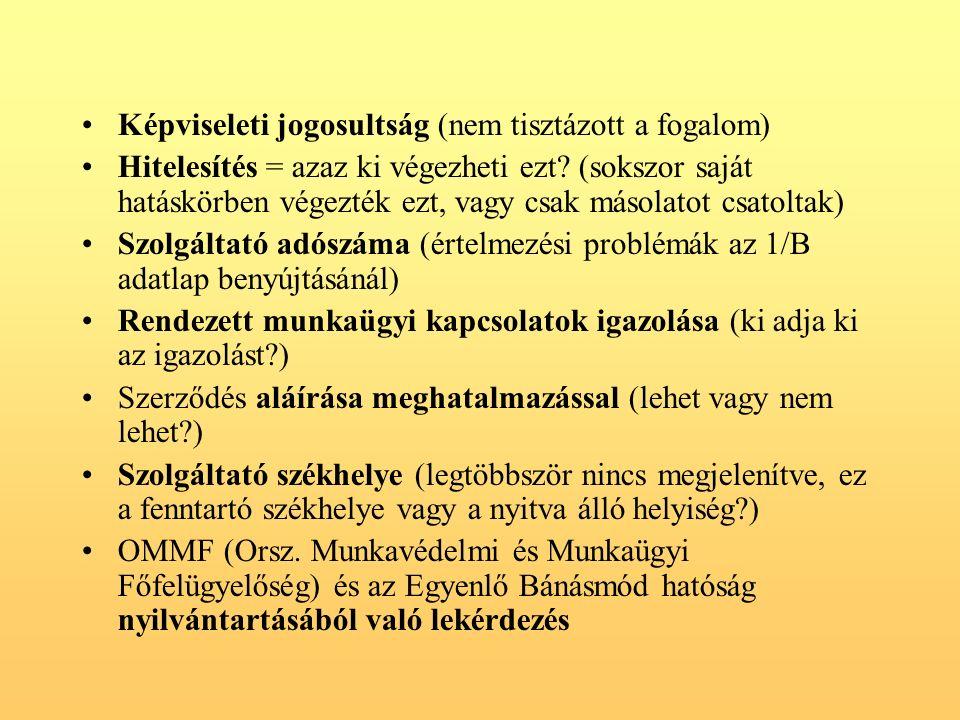 Képviseleti jogosultság (nem tisztázott a fogalom) Hitelesítés = azaz ki végezheti ezt.