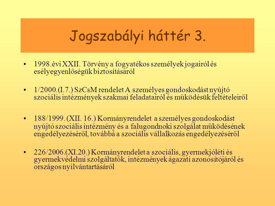 Jogszabályi háttér 3. 1998.évi XXII.