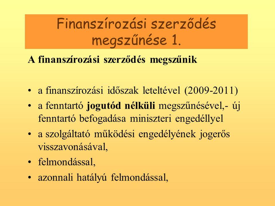 Finanszírozási szerződés megszűnése 1.
