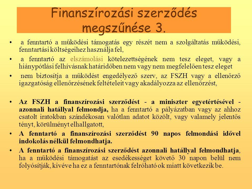 Finanszírozási szerződés megszűnése 3.