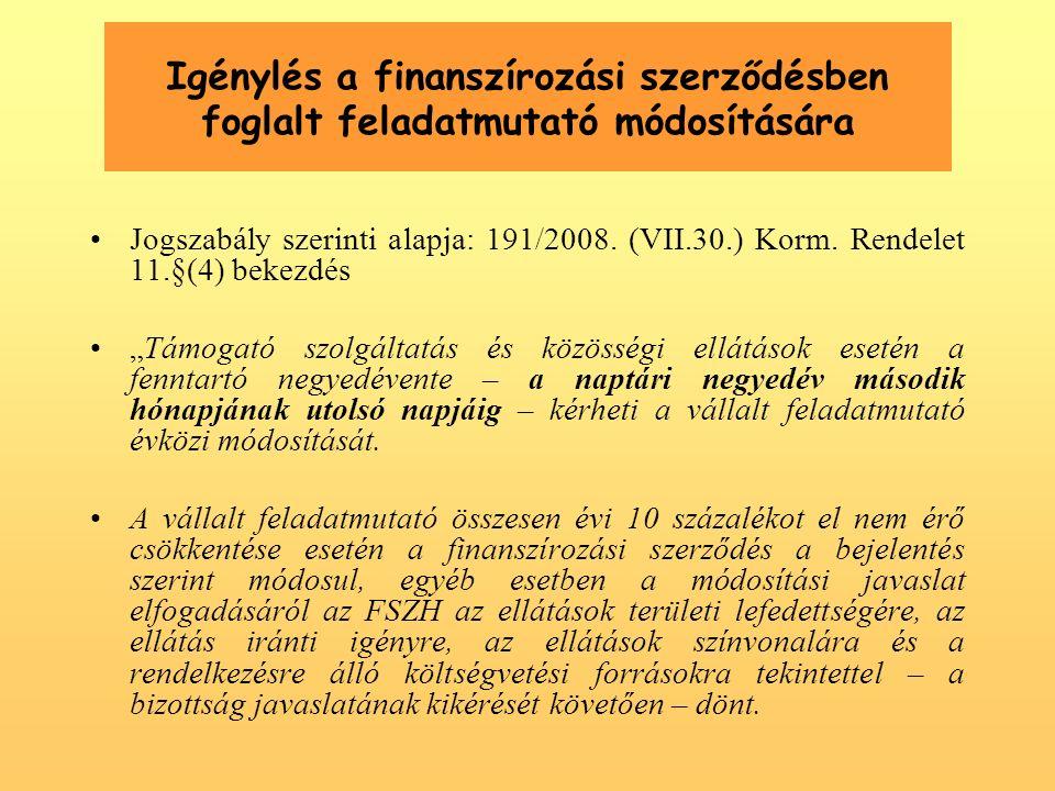 Igénylés a finanszírozási szerződésben foglalt feladatmutató módosítására Jogszabály szerinti alapja: 191/2008.