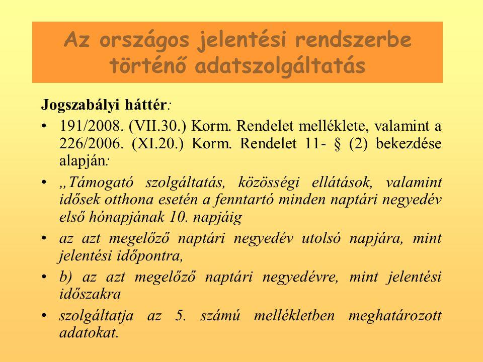Az országos jelentési rendszerbe történő adatszolgáltatás Jogszabályi háttér: 191/2008.