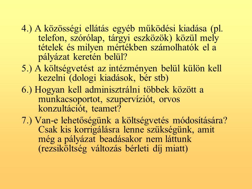 4.) A közösségi ellátás egyéb működési kiadása (pl.