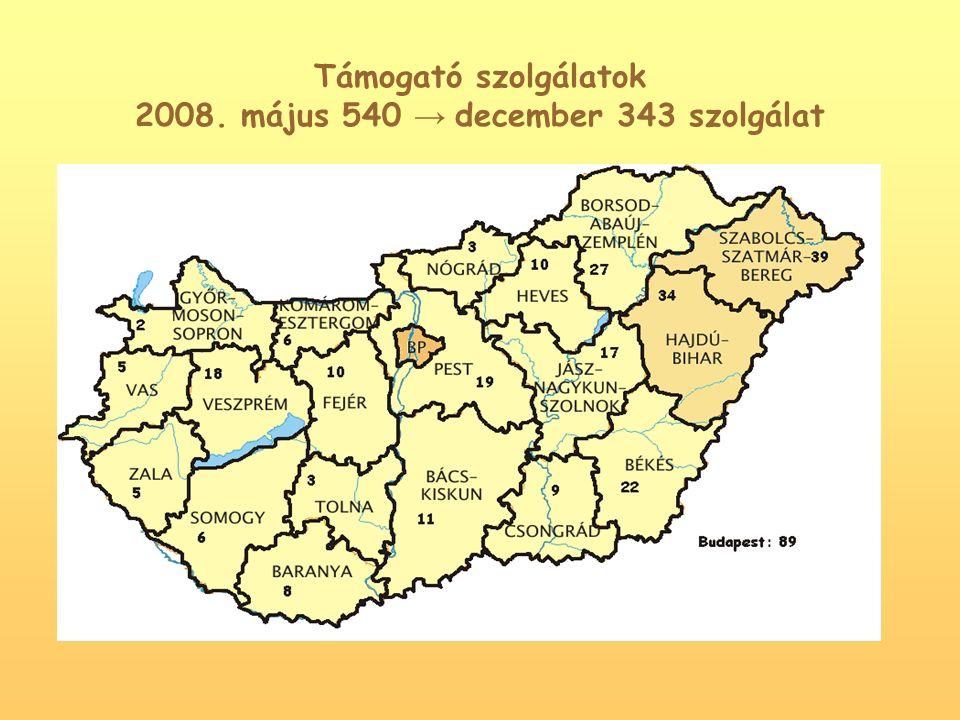 Közösségi ellátások összesen 2008.május 361db → december 188 db szolgáltató