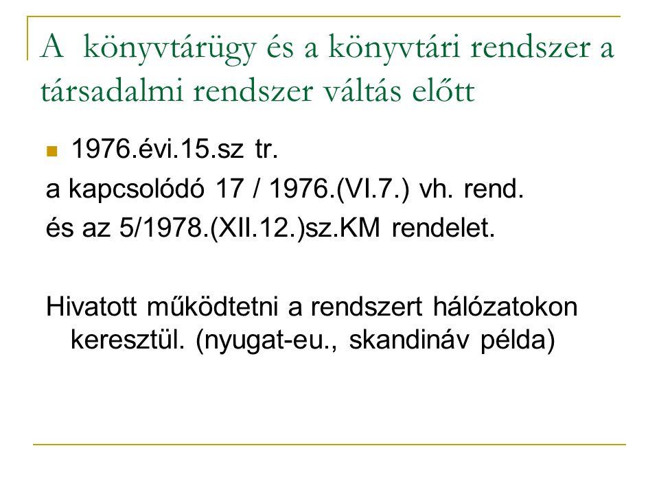 A könyvtárügy és a könyvtári rendszer a társadalmi rendszer váltás előtt 1976.évi.15.sz tr. a kapcsolódó 17 / 1976.(VI.7.) vh. rend. és az 5/1978.(XII
