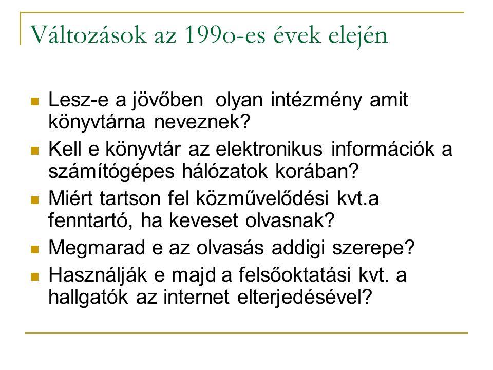 Változások az 199o-es évek elején Lesz-e a jövőben olyan intézmény amit könyvtárna neveznek? Kell e könyvtár az elektronikus információk a számítógépe
