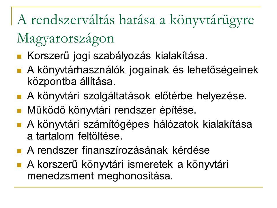 A rendszerváltás hatása a könyvtárügyre Magyarországon Korszerű jogi szabályozás kialakítása. A könyvtárhasználók jogainak és lehetőségeinek központba