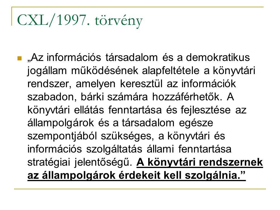 """CXL/1997. törvény """"Az információs társadalom és a demokratikus jogállam működésének alapfeltétele a könyvtári rendszer, amelyen keresztül az informáci"""