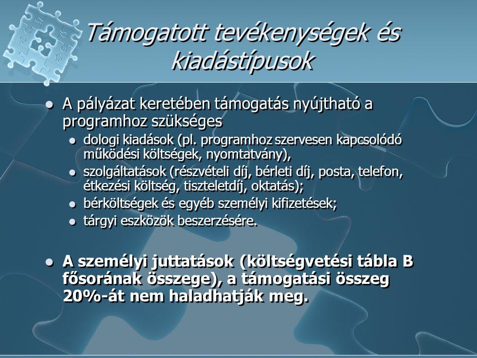 Támogatott tevékenységek és kiadástípusok A pályázat keretében támogatás nyújtható a programhoz szükséges dologi kiadások (pl.