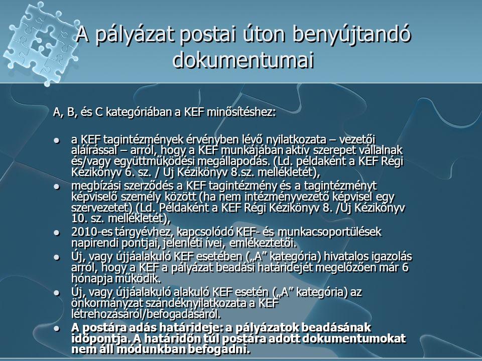 A pályázat postai úton benyújtandó dokumentumai A, B, és C kategóriában a KEF minősítéshez: a KEF tagintézmények érvényben lévő nyilatkozata – vezetői aláírással – arról, hogy a KEF munkájában aktív szerepet vállalnak és/vagy együttműködési megállapodás.