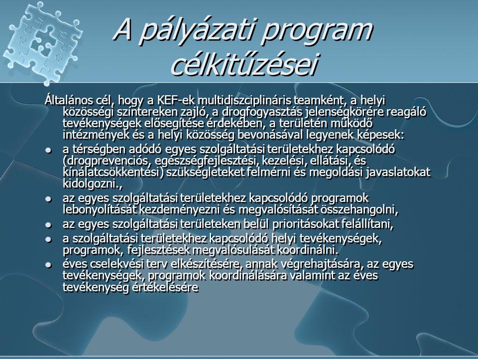A pályázati program célkitűzései Általános cél, hogy a KEF-ek multidiszciplináris teamként, a helyi közösségi színtereken zajló, a drogfogyasztás jelenségkörére reagáló tevékenységek elősegítése érdekében, a területén működő intézmények és a helyi közösség bevonásával legyenek képesek: a térségben adódó egyes szolgáltatási területekhez kapcsolódó (drogprevenciós, egészségfejlesztési, kezelési, ellátási, és kínálatcsökkentési) szükségleteket felmérni és megoldási javaslatokat kidolgozni., az egyes szolgáltatási területekhez kapcsolódó programok lebonyolítását kezdeményezni és megvalósítását összehangolni, az egyes szolgáltatási területeken belül prioritásokat felállítani, a szolgáltatási területekhez kapcsolódó helyi tevékenységek, programok, fejlesztések megvalósulását koordinálni.