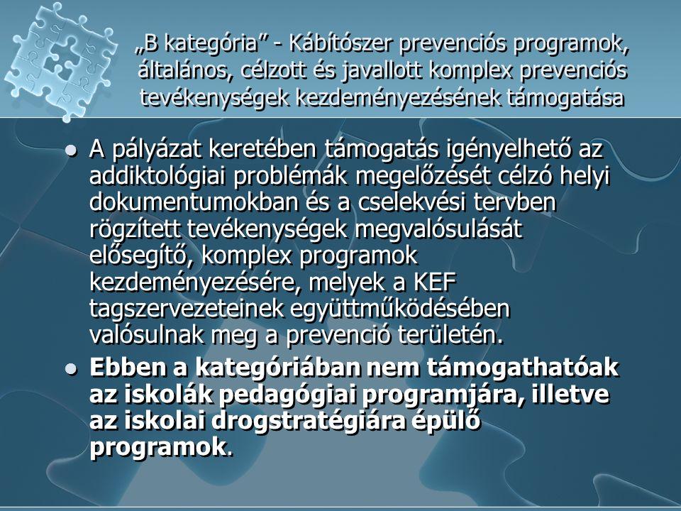 """""""B kategória - Kábítószer prevenciós programok, általános, célzott és javallott komplex prevenciós tevékenységek kezdeményezésének támogatása A pályázat keretében támogatás igényelhető az addiktológiai problémák megelőzését célzó helyi dokumentumokban és a cselekvési tervben rögzített tevékenységek megvalósulását elősegítő, komplex programok kezdeményezésére, melyek a KEF tagszervezeteinek együttműködésében valósulnak meg a prevenció területén."""