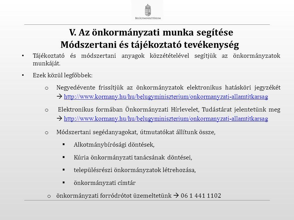 Módszertani és tájékoztató tevékenység Tájékoztató és módszertani anyagok közzétételével segítjük az önkormányzatok munkáját.