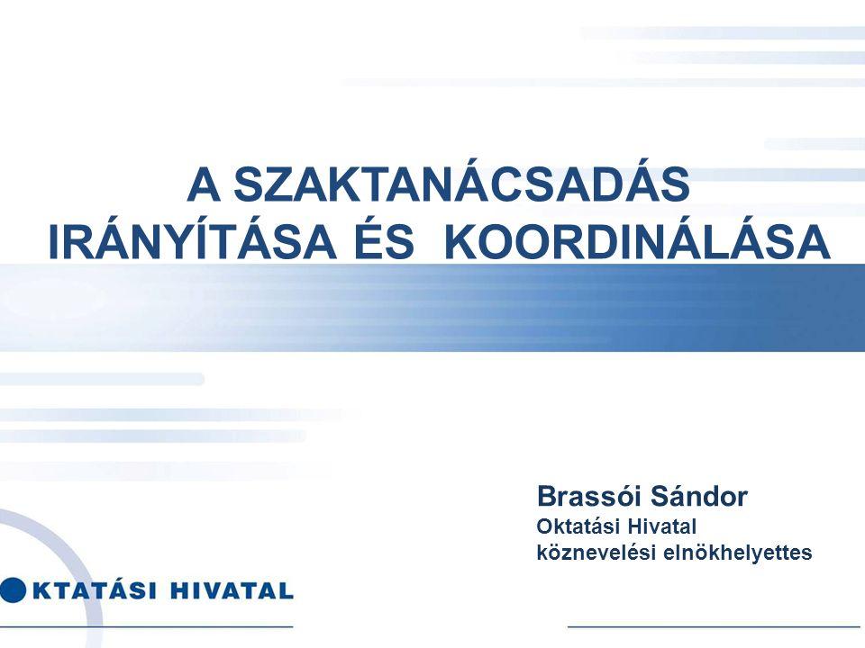 A SZAKTANÁCSADÁS IRÁNYÍTÁSA ÉS KOORDINÁLÁSA Brassói Sándor Oktatási Hivatal köznevelési elnökhelyettes