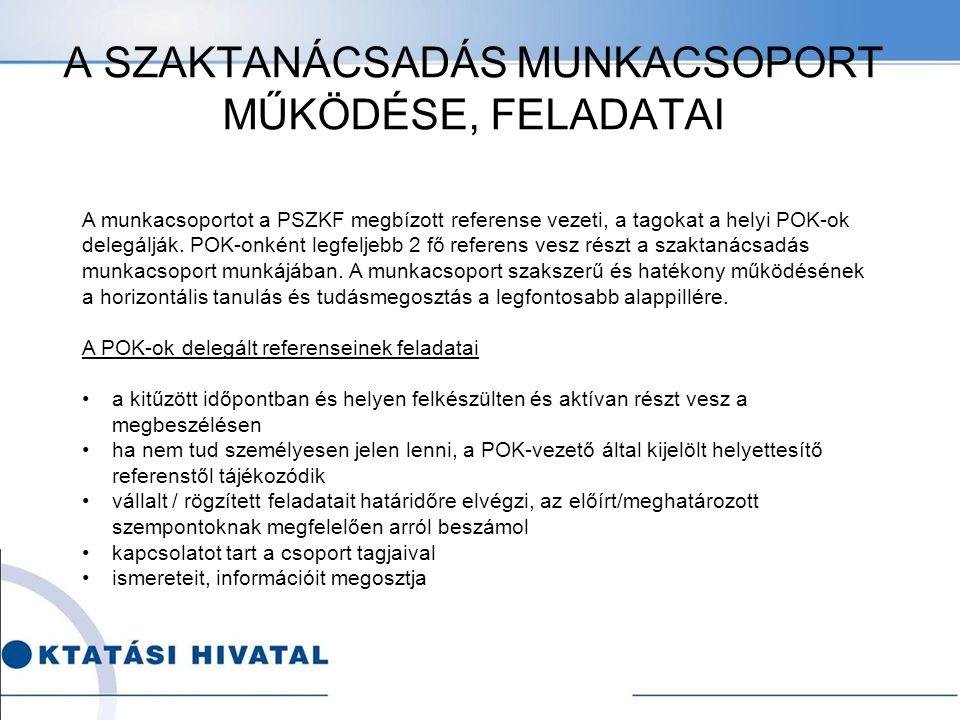 A SZAKTANÁCSADÁS MUNKACSOPORT MŰKÖDÉSE, FELADATAI A munkacsoportot a PSZKF megbízott referense vezeti, a tagokat a helyi POK-ok delegálják.