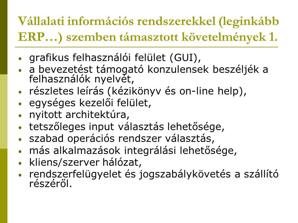 Vállalati információs rendszerekkel (leginkább ERP…) szemben támasztott követelmények 1. grafikus felhasználói felület (GUI), a bevezetést támogató ko