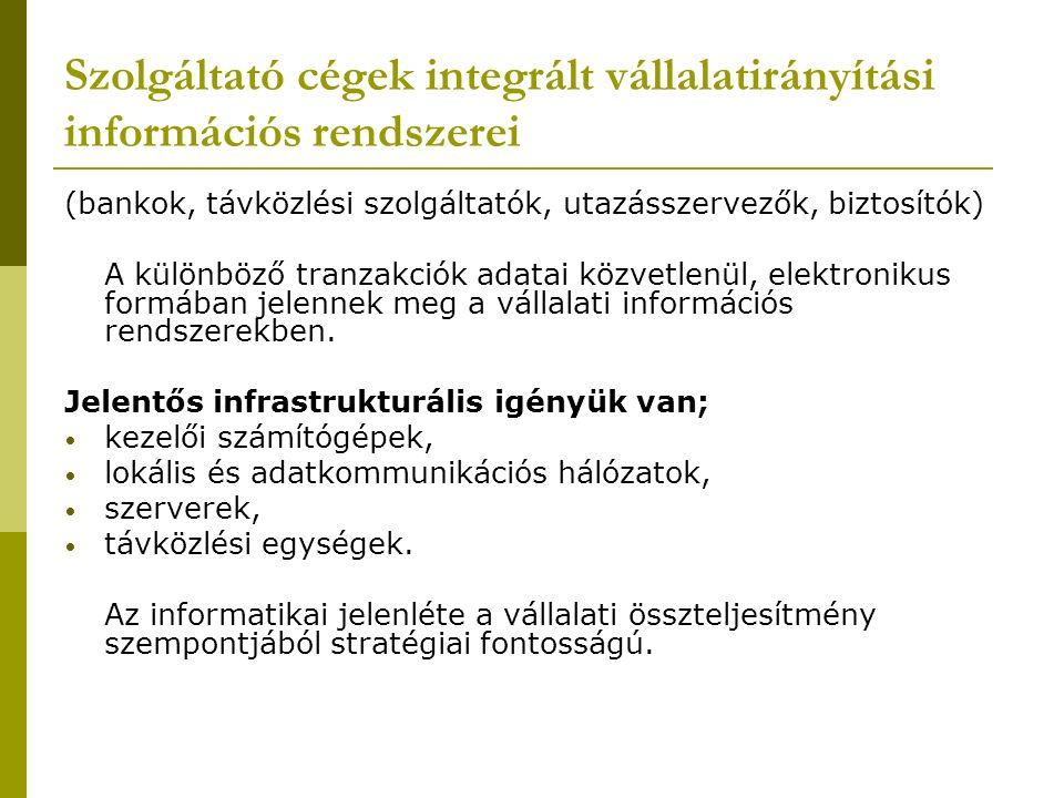 Szolgáltató cégek integrált vállalatirányítási információs rendszerei (bankok, távközlési szolgáltatók, utazásszervezők, biztosítók) A különböző tranz