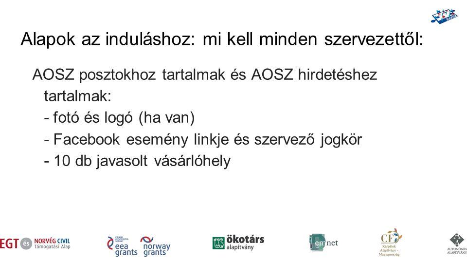Alapok az induláshoz: mi kell minden szervezettől: AOSZ posztokhoz tartalmak és AOSZ hirdetéshez tartalmak: - fotó és logó (ha van) - Facebook esemény linkje és szervező jogkör - 10 db javasolt vásárlóhely