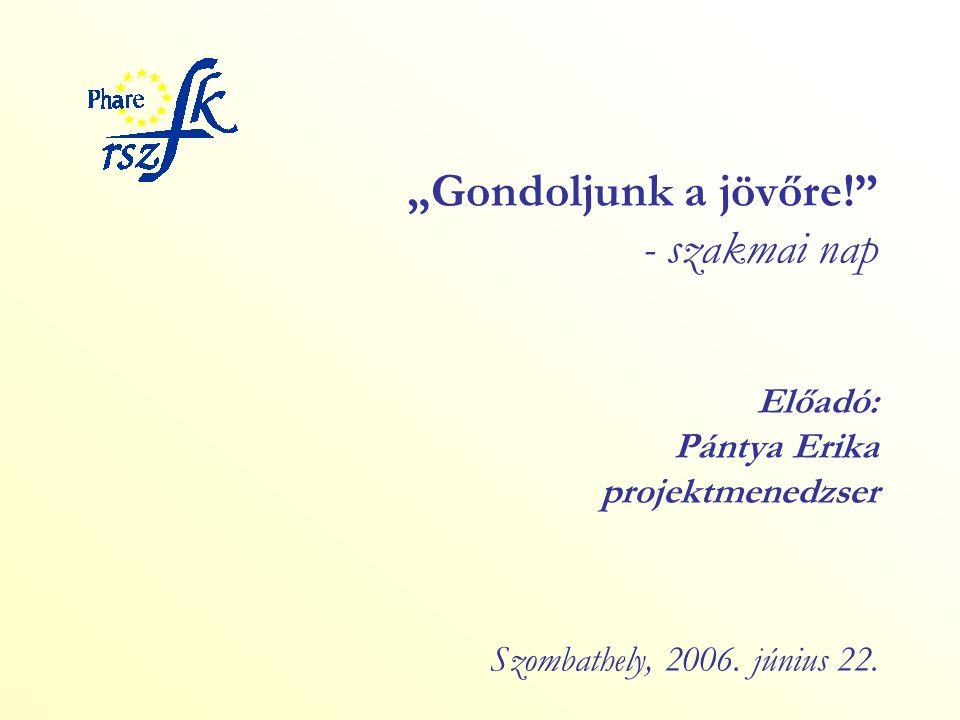 """""""Gondoljunk a jövőre! - szakmai nap Előadó: Pántya Erika projektmenedzser Szombathely, 2006."""