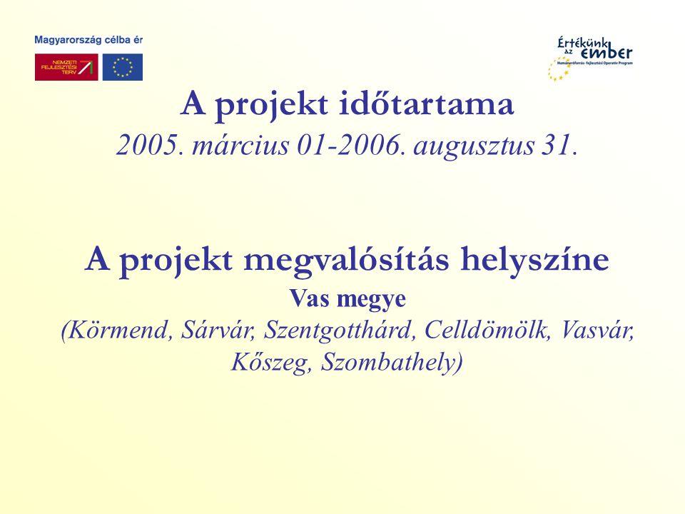 A projekt időtartama 2005. március 01-2006. augusztus 31.