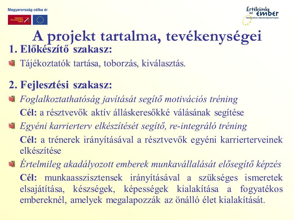 A projekt tartalma, tevékenységei 1.