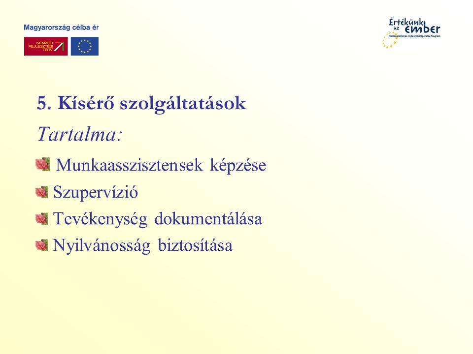 5. Kísérő szolgáltatások Tartalma: Munkaasszisztensek képzése Szupervízió Tevékenység dokumentálása Nyilvánosság biztosítása
