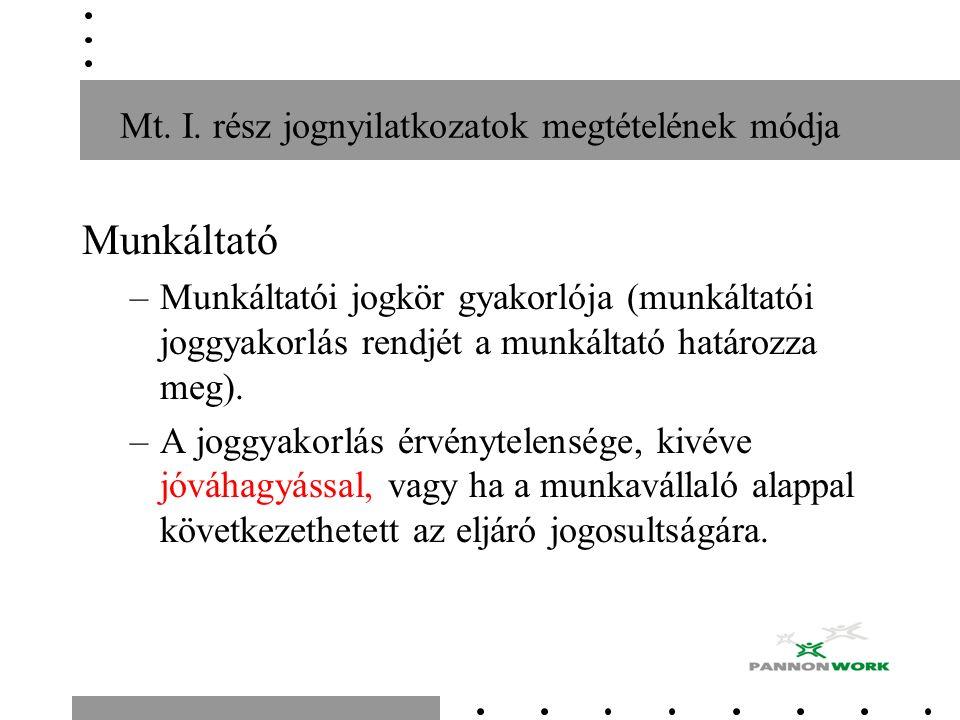 Mt. I. rész jognyilatkozatok megtételének módja Munkáltató –Munkáltatói jogkör gyakorlója (munkáltatói joggyakorlás rendjét a munkáltató határozza meg