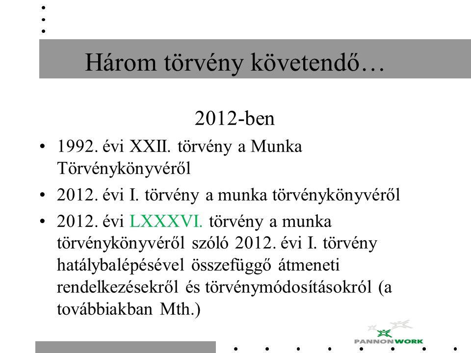 Három törvény követendő… 2012-ben 1992. évi XXII. törvény a Munka Törvénykönyvéről 2012. évi I. törvény a munka törvénykönyvéről 2012. évi LXXXVI. tör